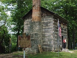 Log_post_office_historical_marker_franklin